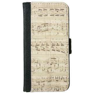 Sheet Music on Parchment Handwritten in Ink iPhone 6 Wallet Case