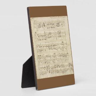 Sheet Music on Parchment Handwritten in Ink Plaque