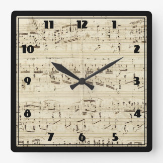 Sheet Music on Parchment Handwritten in Ink Square Wall Clock