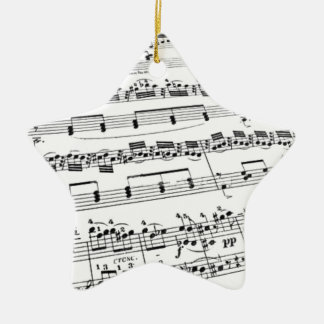 Sheet Music Double-Sided Star Ceramic Christmas Ornament