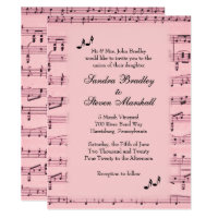 Sheet Music Pink Wedding Invitation