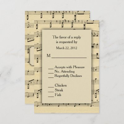 Sheet Music RSVP with Menu Choices