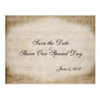 Music Theme Sheet Music Save the Date Postcard