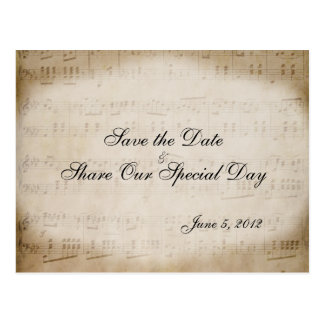 Sheet Music Save the Date Postcard