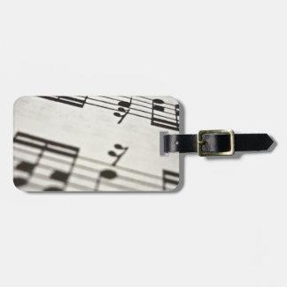 Sheet music score luggage tags