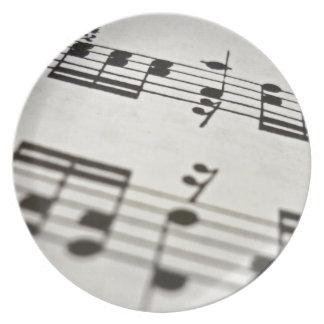 Sheet music score dinner plate