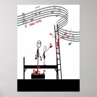 Sheet  Music Score Teacher Musician Composer Funny Poster