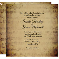 Sheet Music Theme Wedding Invitation