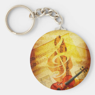 Sheet Music, Treble Cleff, and Violin Keychain