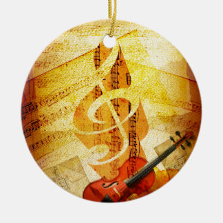 Sheet Music, Treble Cleff, and Violin Christmas Ornament
