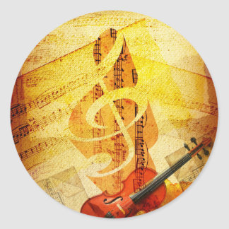 Sheet Music, Treble Cleff, and Violin Round Stickers