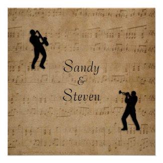 Sheet Music Trumpet and Sax Wedding Invitation