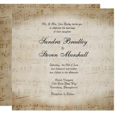 Sheet Music Wedding Invitation