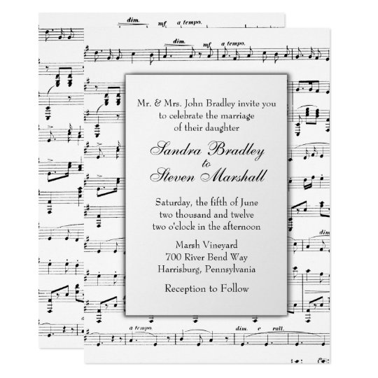 Sheet Music Wedding Theme Invitation