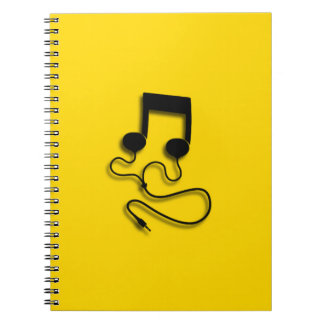 Sheet music with headphones Headphones Notebooks