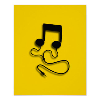 Sheet music with headphones Headphones Poster