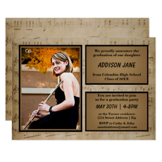 Sheet Music With Photo - Grad Announcement at Zazzle