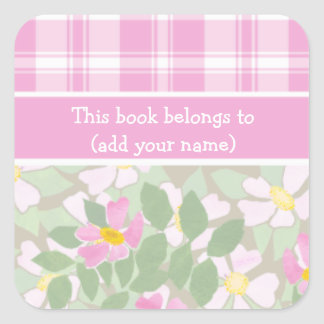 Sheet of 20 Bookplates: Pink Dogroses and Plaid Square Sticker