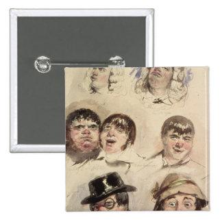 Sheet of Studies of Seven Heads Pinback Button