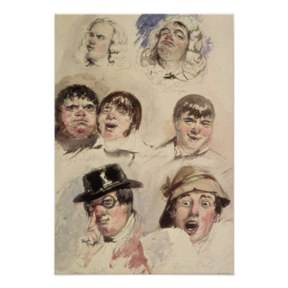 Sheet of Studies of Seven Heads Poster