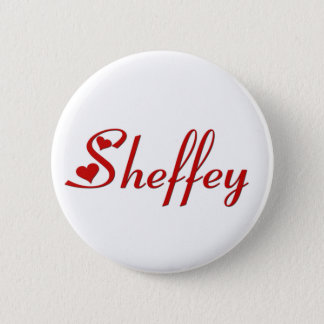 Sheffey name with two red hearts pinback button