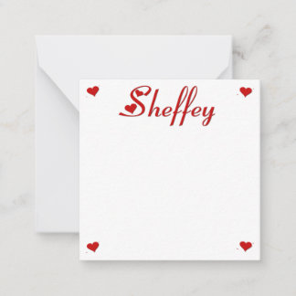 Sheffey with two red hearts 9538 note card