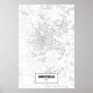Sheffield, England (black on white) Poster