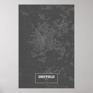 Sheffield, England (white on black) Poster
