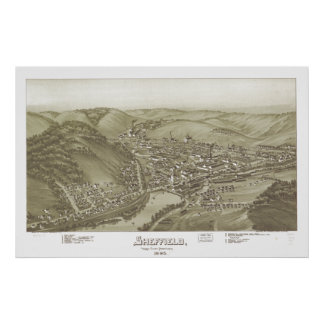 Sheffield Pennsylvania 1895 Antique Panoramic Map Poster