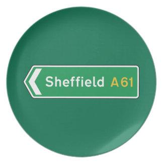 Sheffield señal de tráfico BRITÁNICA Plato De Comida
