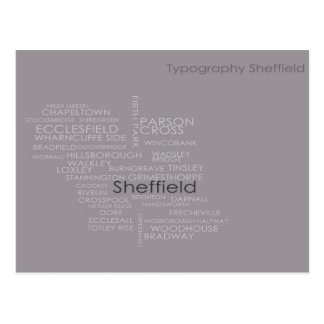 Sheffield Typography Map Postcard