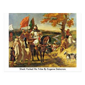 Sheik Visited His Tribe By Eugene Delacroix Postcard