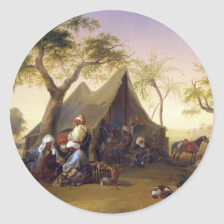 Sheiks Drinking Coffee In Front of A Tent by Josep Classic Round Sticker