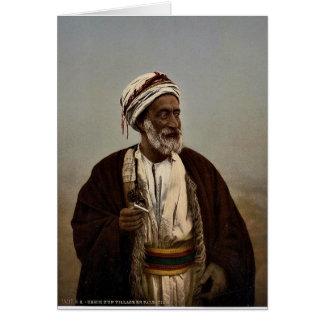 Sheiks of a Palestine village, Holy Land rare Phot Greeting Card
