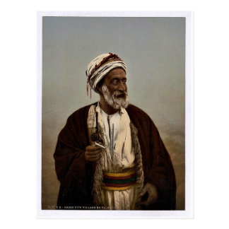 Sheiks of a Palestine village, Holy Land rare Phot Postcard