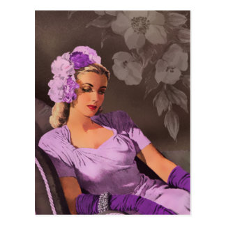 Sheila - 1940s Evening Wear in Lilac and Taupe Postcard