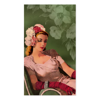 Sheila - 1940s Evening Wear in Pink and Green Business Card