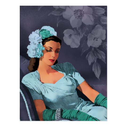 Sheila - 1940s Evening Wear in Turquoise and Blue Postcard