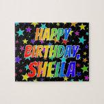 "[ Thumbnail: ""Sheila"" First Name, Fun ""Happy Birthday"" Jigsaw Puzzle ]"
