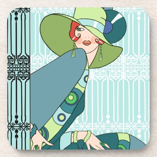 Shelby, 1920s Lady in Aqua and Teal Drink Coaster