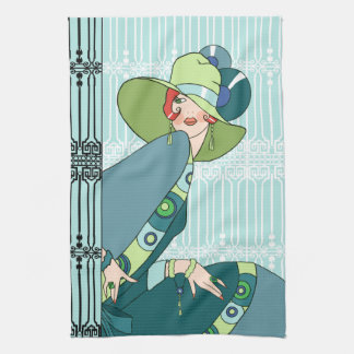 Shelby, 1920s Lady in Aqua and Teal Kitchen Towel