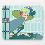 Shelby, 1920s Lady in Aqua and Teal Mouse Pad