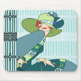Shelby 1920s Lady in Aqua and Teal Mouse Pad