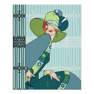 Shelby, 1920s Lady in Aqua and Teal Posters