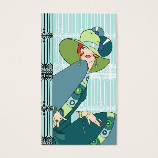 Shelby, 1930s Lady in Aqua and Teal Business Card