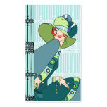 Shelby, 1930s Lady in Aqua and Teal Business Card Templates