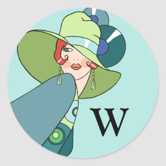 Shelby, 1930s Lady in Aqua and Teal Classic Round Sticker
