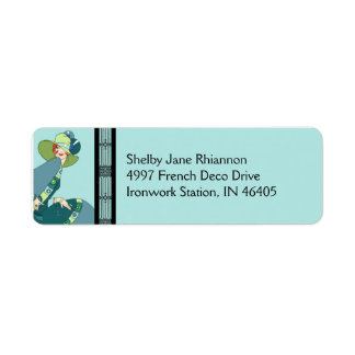 Shelby, 1930s Lady in Aqua and Teal Return Address Label