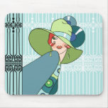 Shelby, 1930s Lady in Aqua and Teal Mouse Pad