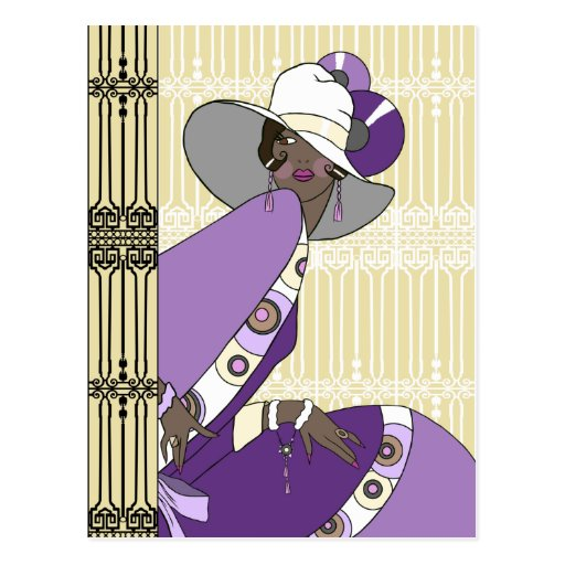 Shelby, 1930s Lady in Cream and Purple Post Card